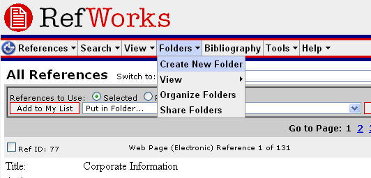Create a Folder in RefWorks