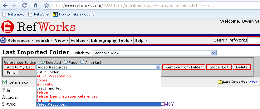RefWorks put Reference in Folder