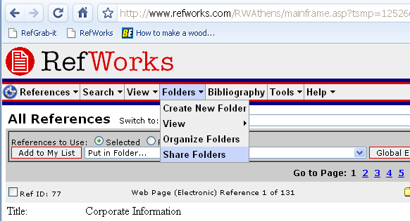 Refworks Share Folder menu