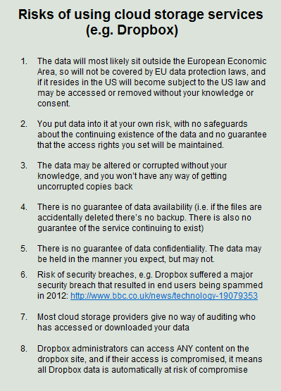 risk of cloud storage services