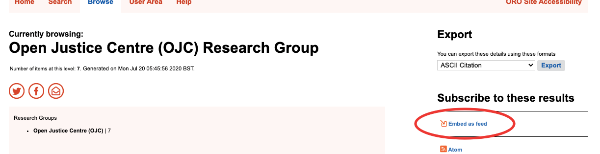 Image showing RSS icon on ORO Research Group listing