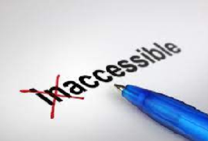 The word inaccessible type written on a page with the first two letters crossed out to indicate the word should be accessible.