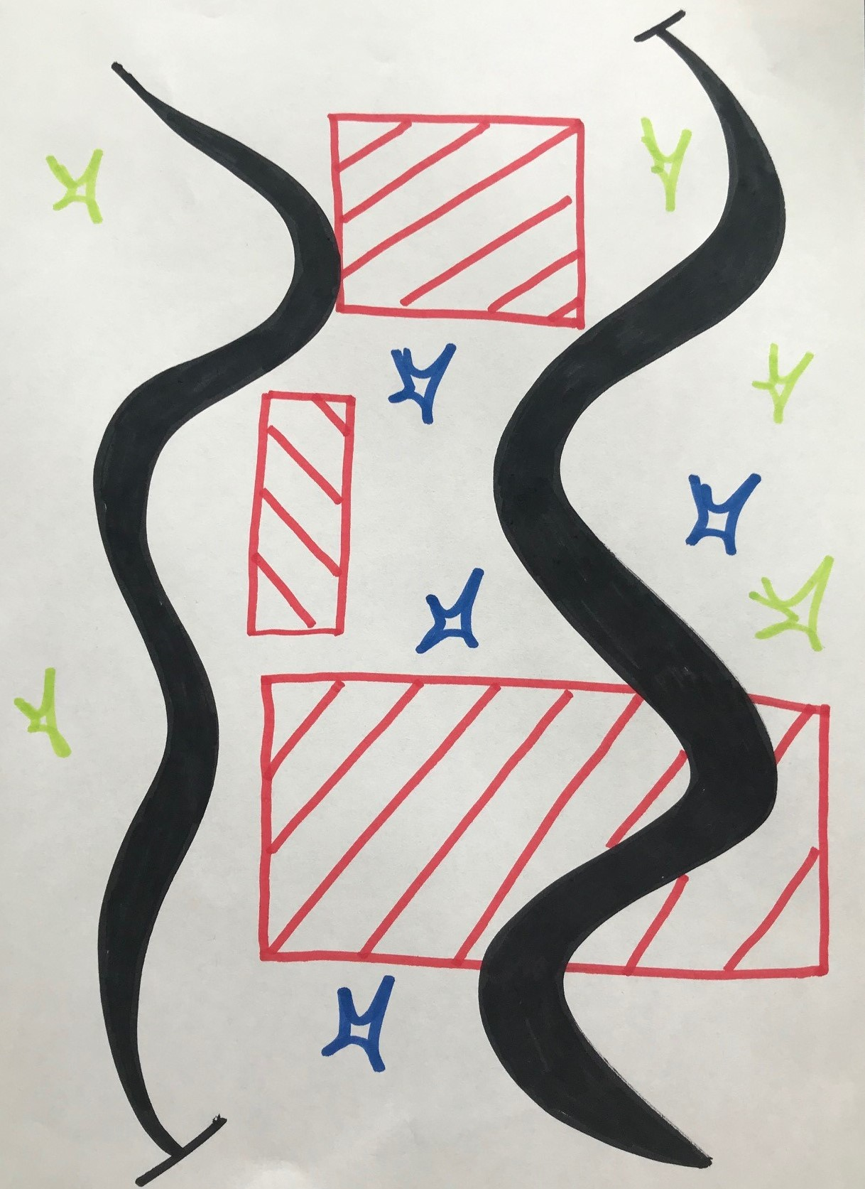 Drawing with red blocks, green and blue flashes with two thick black curly lines.