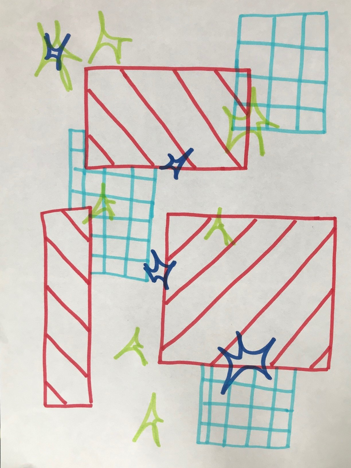 Drawing with red and blue overlapping blocks, green and blue flashes scattered across the drawing.
