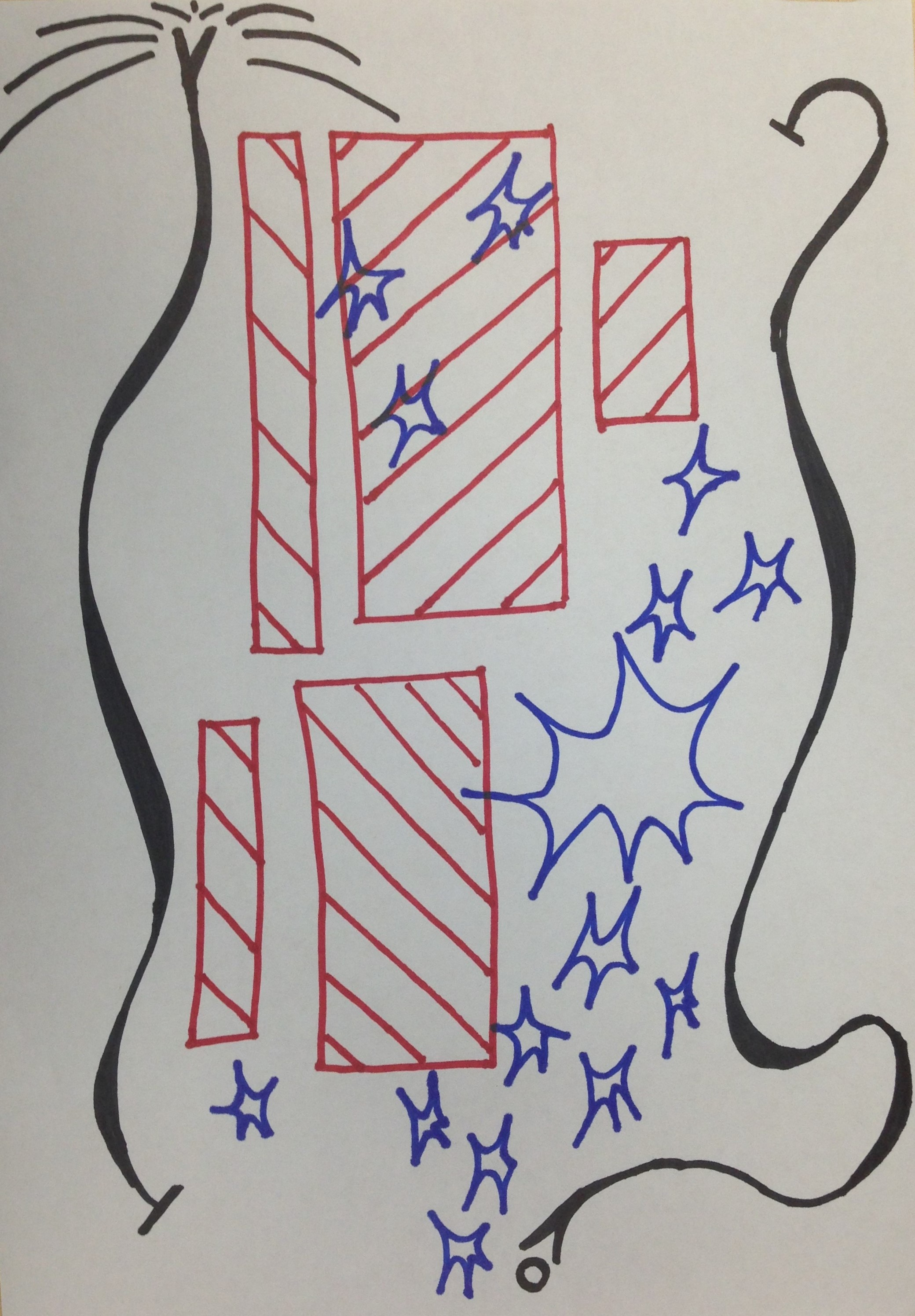 Drawing with red locks, blue flashes and two long black thick curly lines.