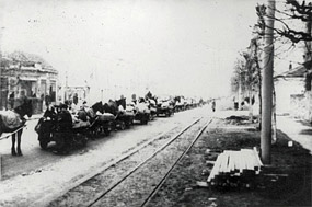 Jewish families on their way to the Semlin Judenlager