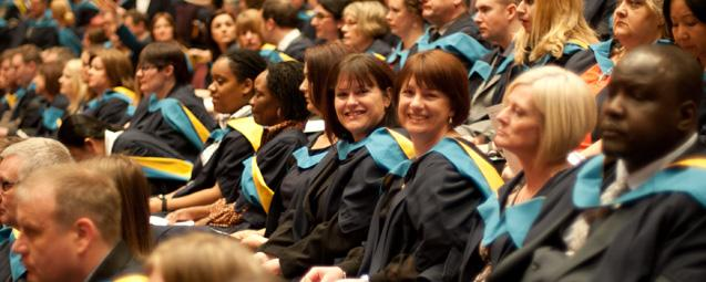 OU students at a graduation ceremony at The Barbican