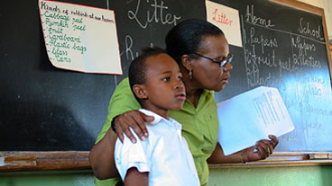 Teacher and student in TESSA project classroom