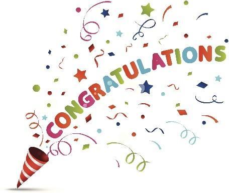 "Colourful cone pouring out stars and confetti with the inscription ""Congratulation!"""