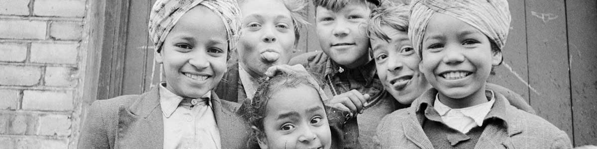 Black and white image, group of children
