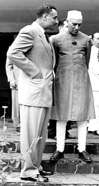 Egyptian Prime Minister Abdel Nasser with Indian Prime Minister Jawaharlal Nehru at the Bandung Conference, Indonesia, 1955