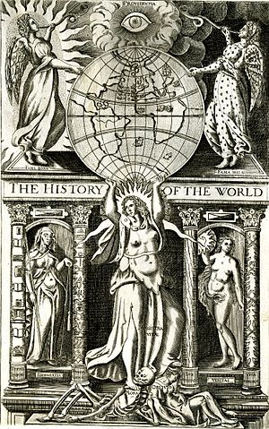 "Title page illustration, ""The History of the World,"" by Walter Ralegh"