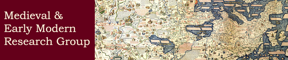Medieval  & Early Modern Research Group banner featuring a detail from the Fra Mauro world map c. 1450