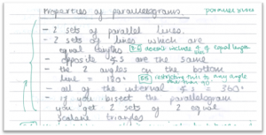 Properties of a parallelogram, written by Stanley Collings Prize