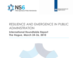 Re-inventing Public Administration: the New Synthesis Project