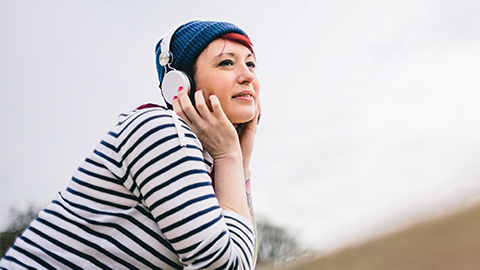 Lady wearing headphones