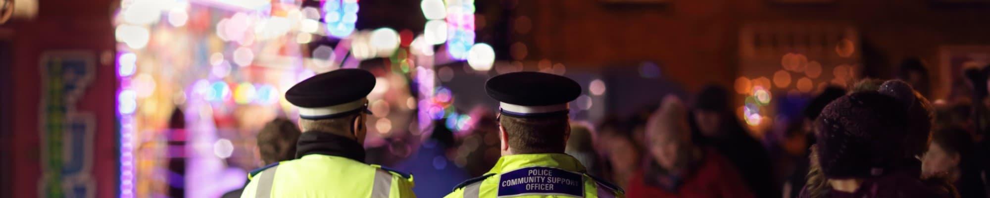 Police on patrol at a fun fair