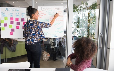 A female professional writes on a large piece of white paper stuck to a glass wall. There are post-it notes and lots of ideas written there. The image suggests she is in an ideas-sharing meeting.