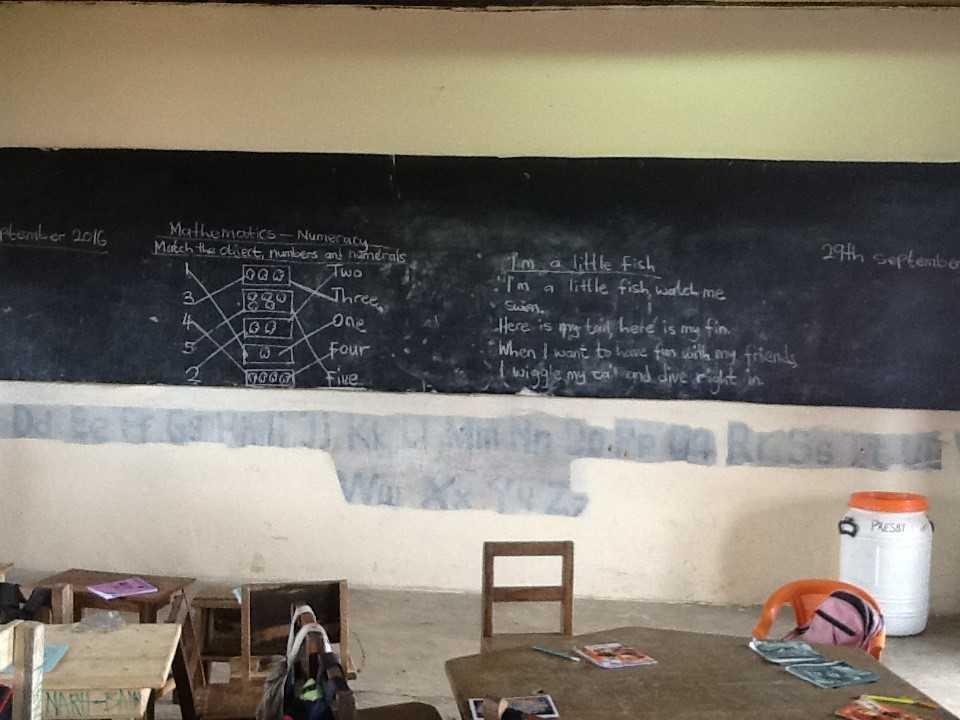 Image of classroom blackboard in India. Photo rights Lina Adinolfi