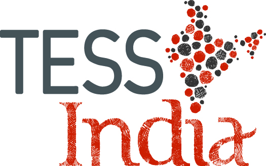 TESS-India logo, with a grey and red map of India