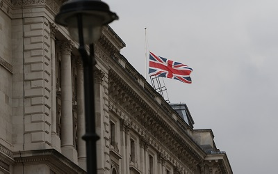 Photo by the Foreign and Commonwealth Office, Flickr. The union jack flag flies above the FCO office building in Whitehall, Lond