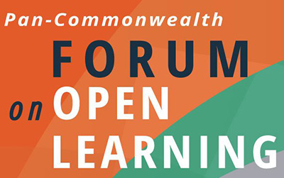 Words Pan Commonwealth Forum on open learning displayed on orange and green background