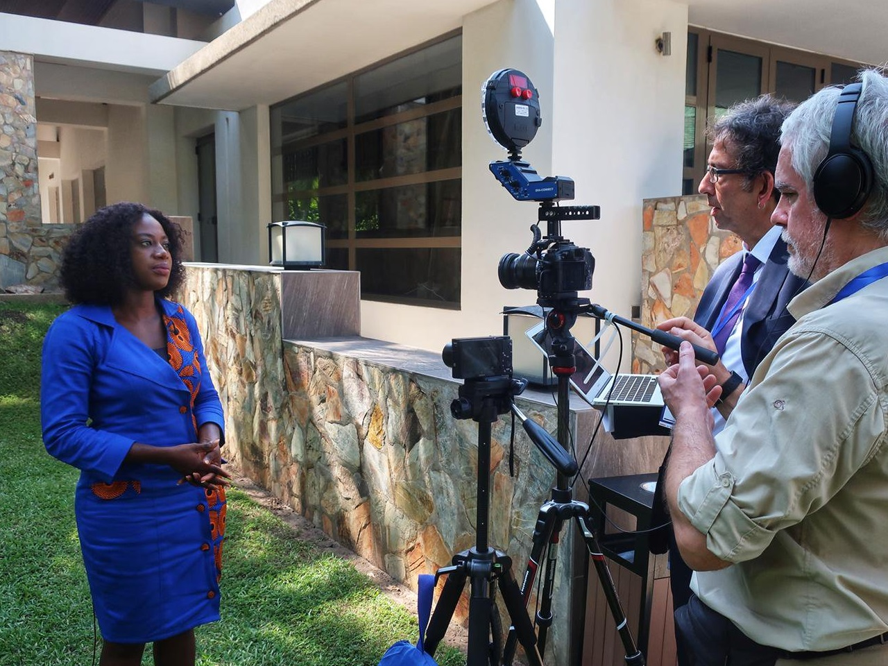 Professor Giles Mohan interviewing Pauline Anaman, Senior Policy Analyst at the Africa Centre for Energy Policy