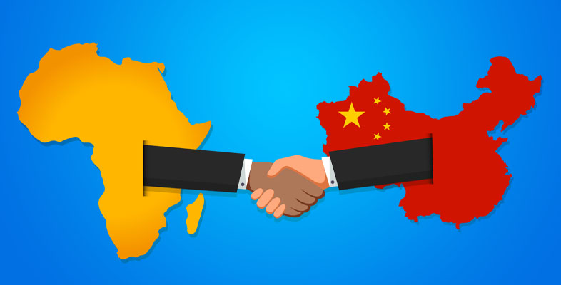 Artwork of handshake superimposed on outlines of Africa and China