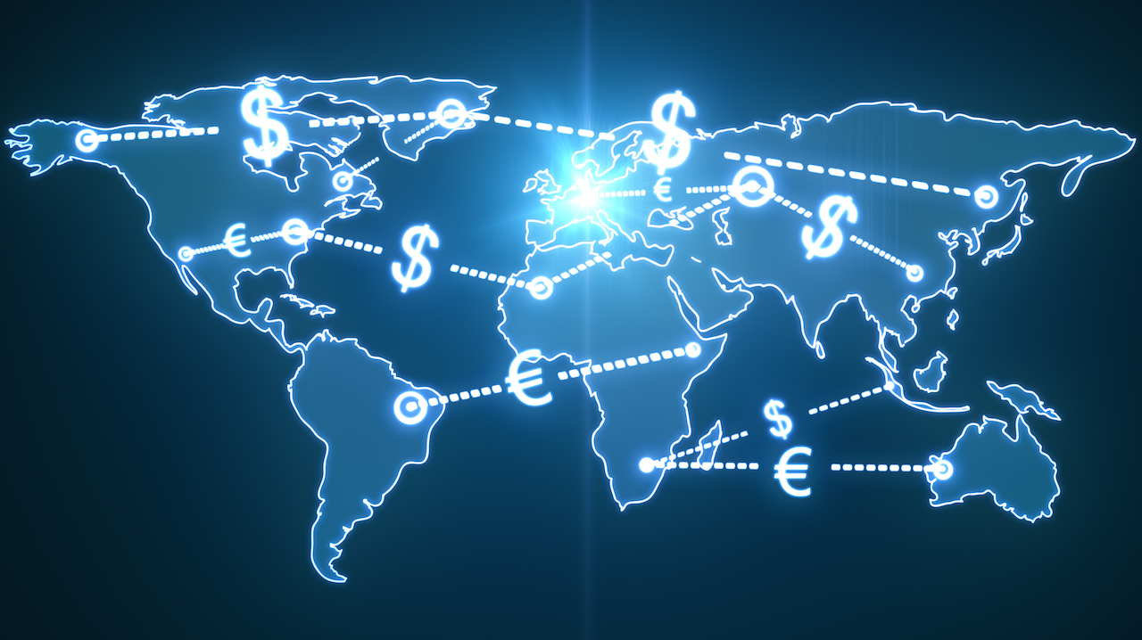 graphic showing money flowing across world