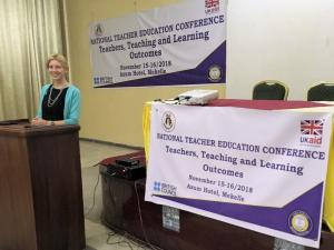 Photo of Dr Alison Buckler at Ethiopia's National Teachers' Conference