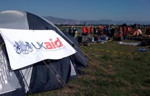 Image of DFiD aid tent in Haiti earthquake relief effort