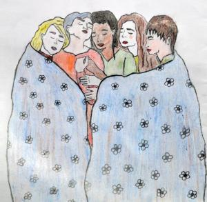 Drawing of women hugging