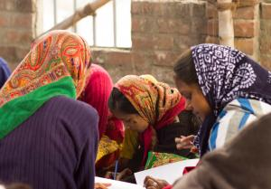 girls studying in village school in India