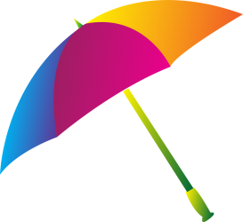 Open umbrella with sections of blue, pink and yellowy orange.