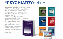 A picture of various journals that are featured on PsychiatryOnline, alongside a description of the database.