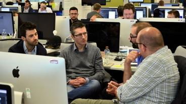 Computing and IT students gaining an insight into projects undertaken by Software Engineers within the CompoZed team. From Left to right: Glenn McGoldrick, Garrett Vernon and Allstate Software Engineers