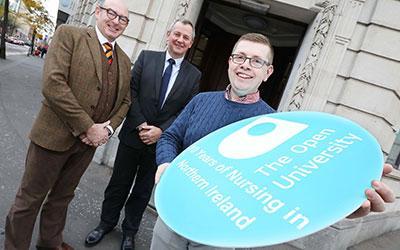 John D'Arcy, Richard Pengelly and OU student nurse Steven Ryan.