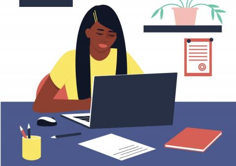 illustration of a teenager learning online