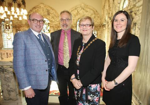 L-R John D'Arcy, National Director of The Open University, Quintin Oliver, who wrote a piece to accompany the video on the YES Referendum, Deputy Lord Mayor of Belfast, Councillor Sonia Copeland and Dr Frances Morton of The Open University, who curated the project.