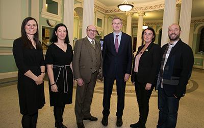 Photo: Dr Frances Morton (OU), Dr Sandra Collins (NLI), John D'Arcy (Director, OU in Ireland), Minister of State, Seán Kyne TD, Dr Mairéad Nic Giolla Mhichíl (DCU) and Fernando Rosell-Aguilar (OU).
