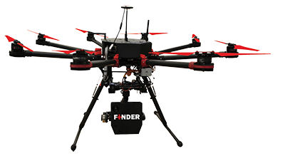 FINDER device mounted on an octocopter drone