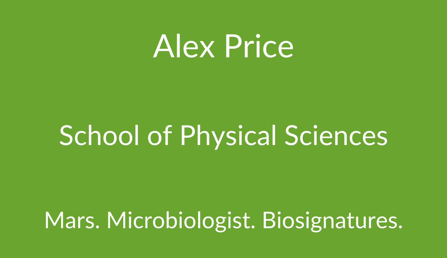 AstrobiologyOU Alex Price