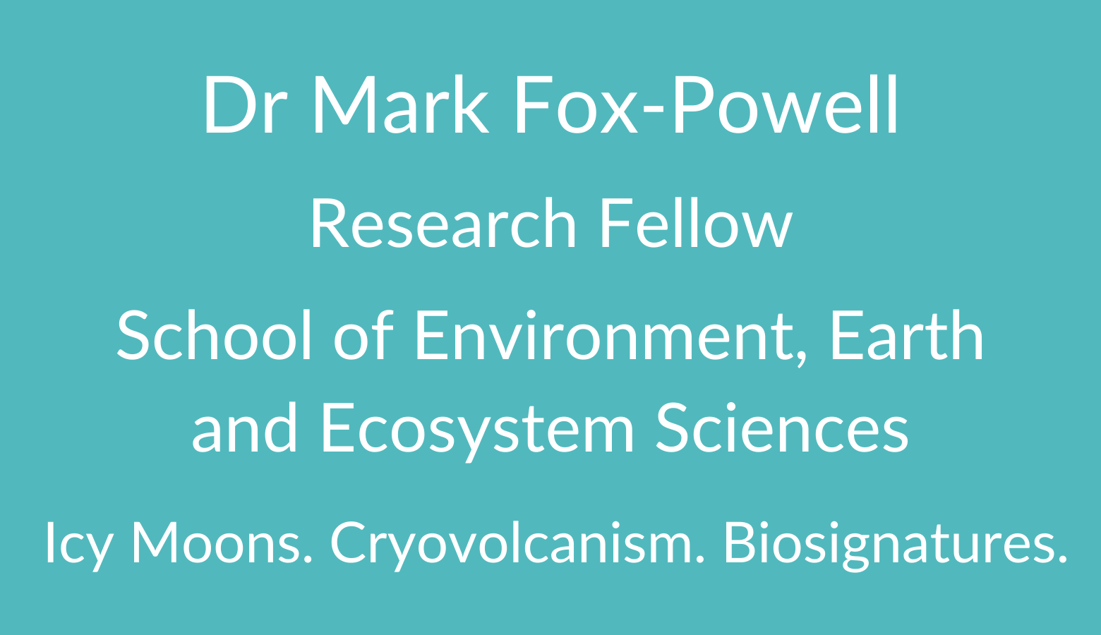 AstrobiologyOU Dr Mark Fox-Powell