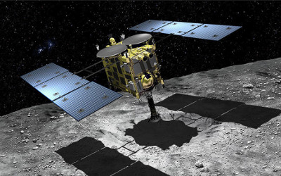 Hayabusa2 collecting samples from asteroid