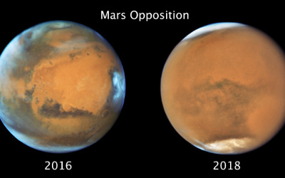 Images of Mars under clear conditions (left) and during the 2018 Global Dust Storm (right). Credit: NASA, ESA, STScl.