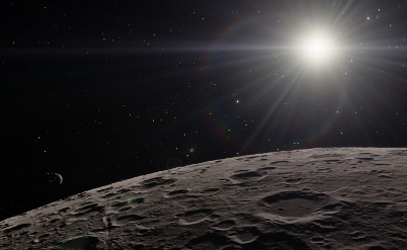 Surface of the Moon with the Sun in the background