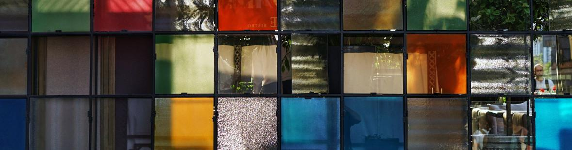 Multicoloured panes of glass