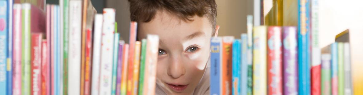 Boy looking at books