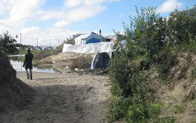 Photo of part of the refugee camp known as 'the Jungle'