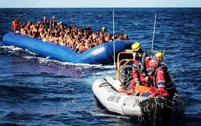 Migrants crossing the sea by boat - picture courtesy of Karam Yahya